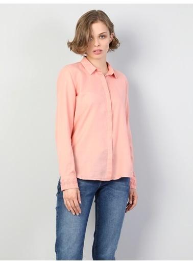Colin's Slim Fit Shirt Neck Kadın Safran Uzun Kol Gömlek Pembe